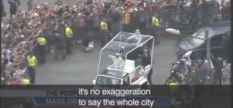 【エクアドルでローマ法王のミサ】exaggeration, turn out for, being held on, turn into, touch